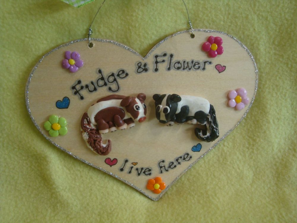3d Pet Skunk Heart shape wooden Personalised sign Up to 2 characters cage, bed Room plaque